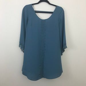 ASTR the label blue lace trimmed dress